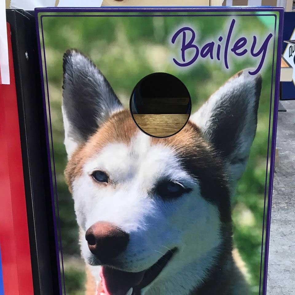 Your pet on a custom cornhole board set!