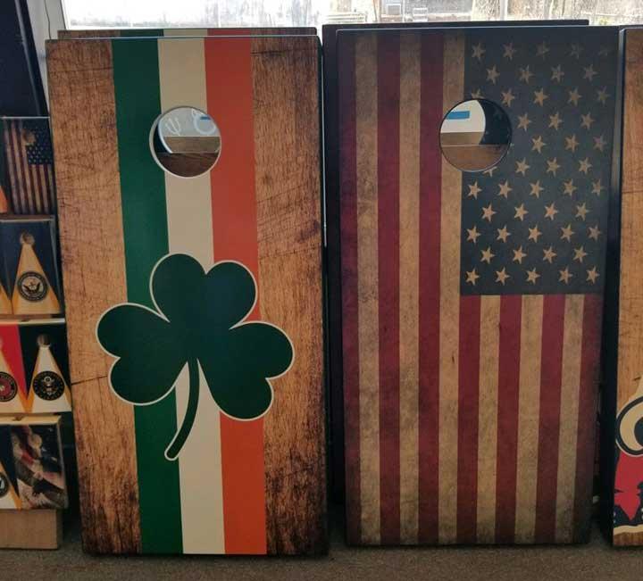 Irish and American flag cornhole board sets.