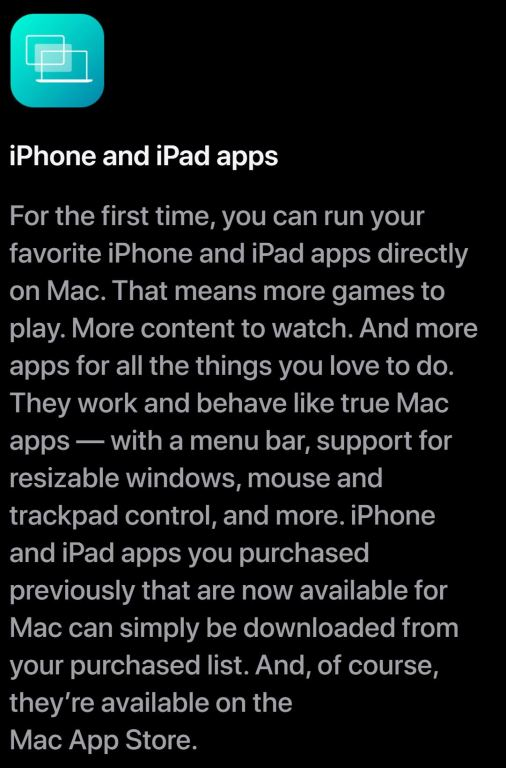 iPhone and iPad apps available on M1 Chip and Mac