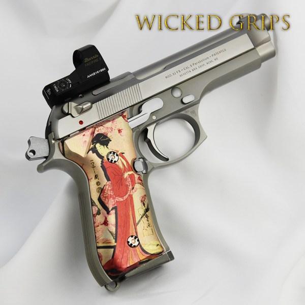 Custom Beretta 92fs Pistol Grips Geisha - Wicked