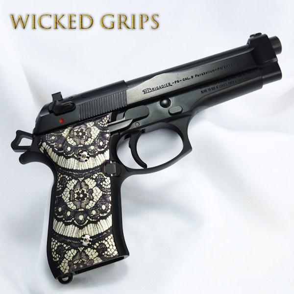 """Custom Beretta 92fs Grips """"black Lace"""""""