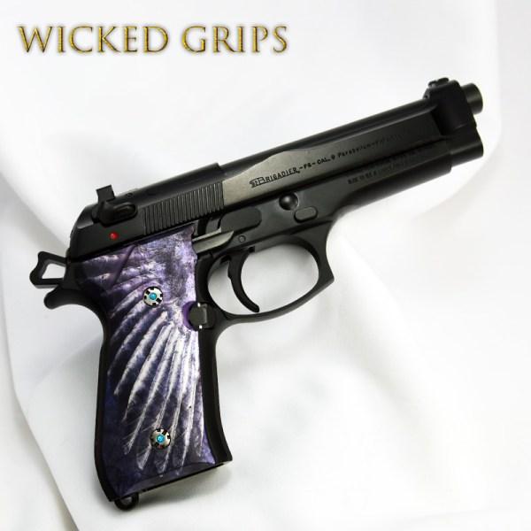 """Custom Beretta 92fs Grips """"wing"""" - Wicked"""