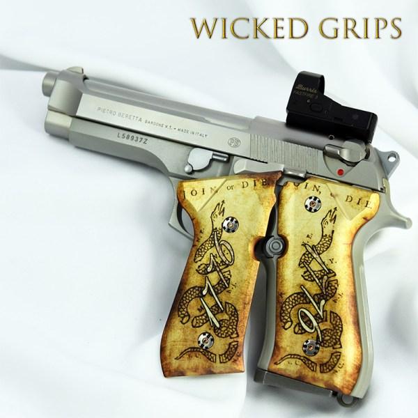 """Custom Beretta 92fs Grips """"1776 Join Die"""" - Wicked"""