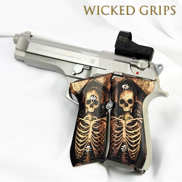 Beretta 92fs Custom Grips Skeleton - Wicked