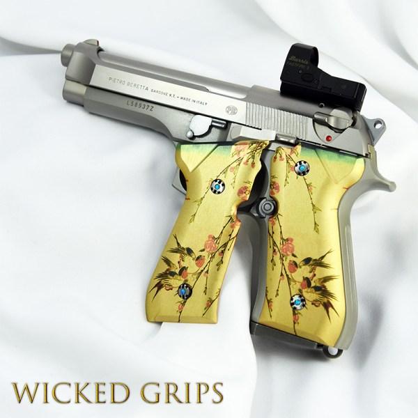 Custom Beretta 92fs Grips Japanese Birds - Wicked