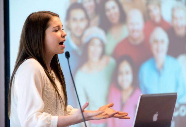 Sophie Leonard pitches School Needs! (Michael Hawkins/Wicked Ideas)