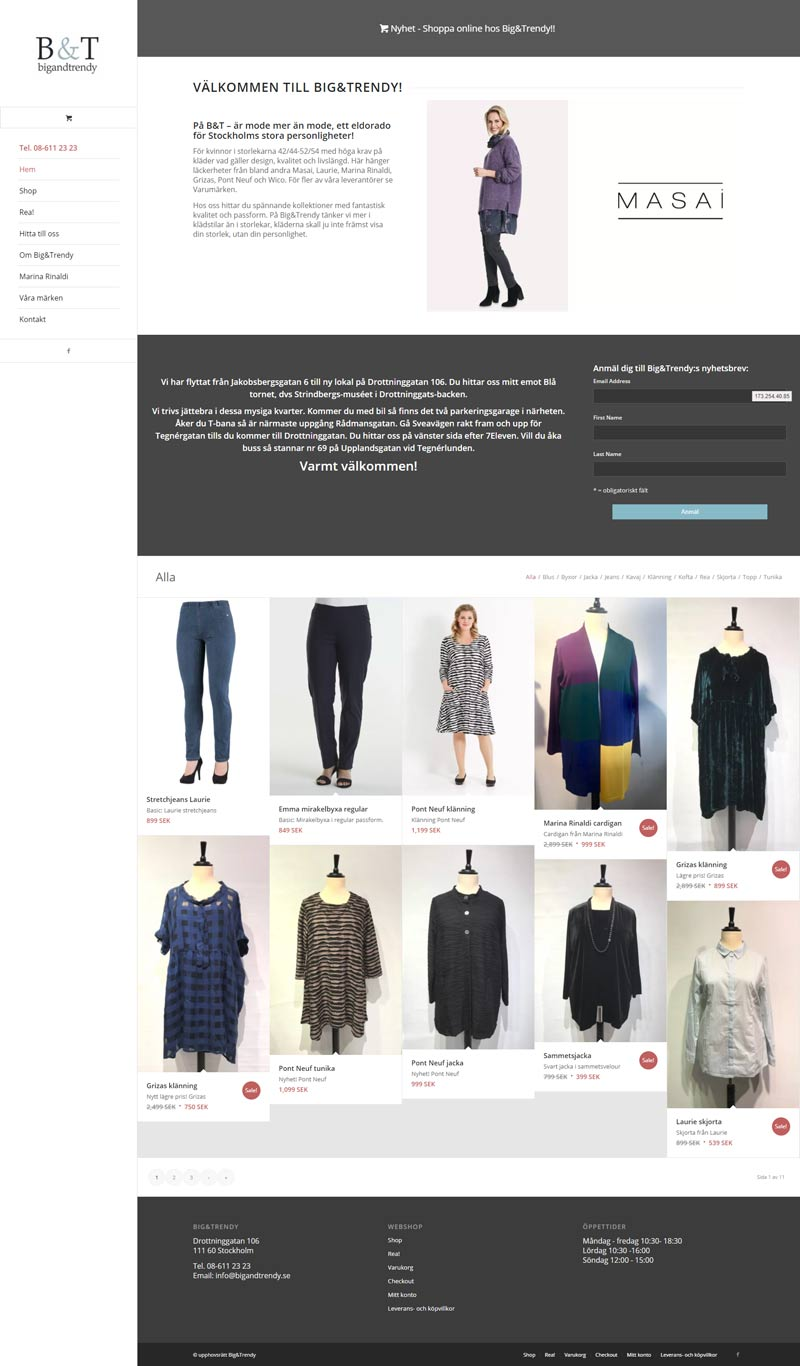 Webshop for Swedish Clothing Company