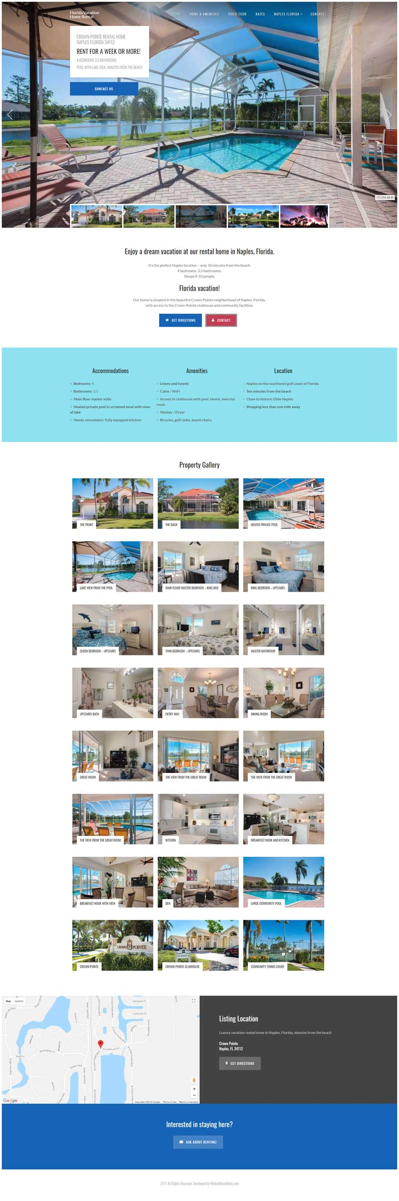 Website for Vacation Rental Home