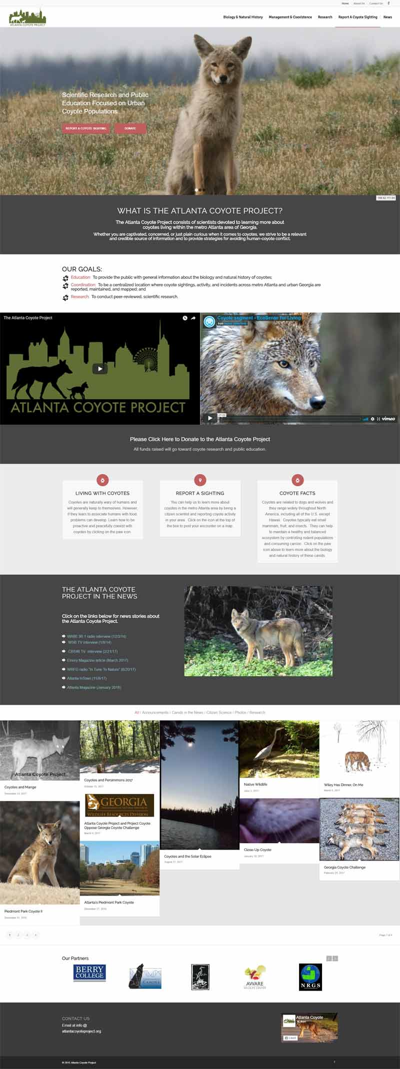 Non Profit Educational Site - Atlanta Coyote Project