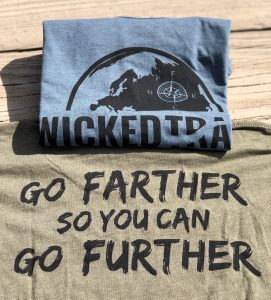 Wicked Trail Running shirts on display at the Burning River 100 Endurance Run