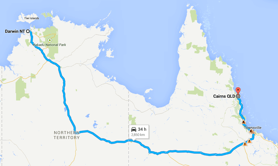 Driving around Australia on Highway One - Cairns to Darwin