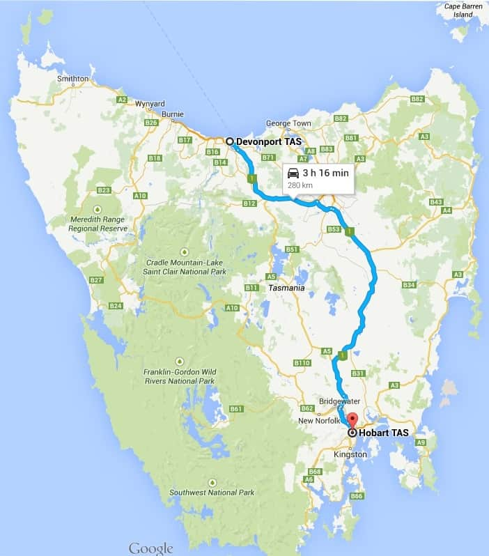 Driving around Australia on Highway One - Devonport to Hobart