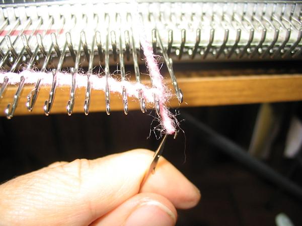 put loop onto last needle