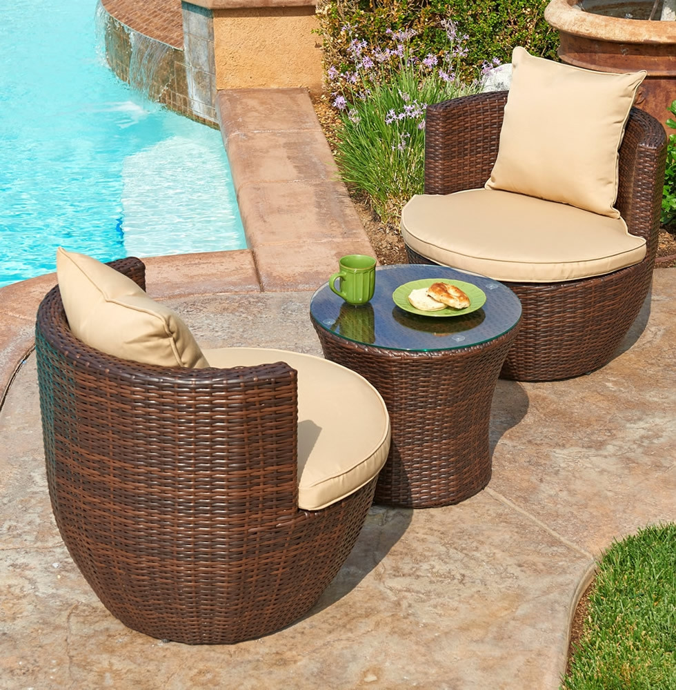 Wicker Patio Chair Thy Hom Perry 3 Piece Wicker Chat Set