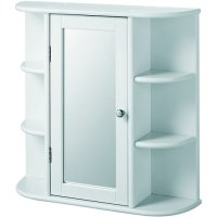 Wickes Bathroom Single Mirror Cabinet with 6 Shelves White