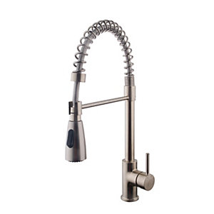 kitchen taps red chairs wickes professional monobloc loose coil pull out sink mixer tap brushed nickel co uk