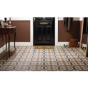 floor tile for kitchen cabinet updates wickes dorset marron patterned ceramic 316 x 316mm co uk