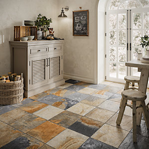 floor tile for kitchen premade islands tiles 15 off wickes co uk multicolour slate effect 333 x 333mm