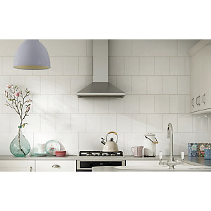 kitchen wall tiles glass tables wickes white ceramic tile 200 x 250 mm co uk