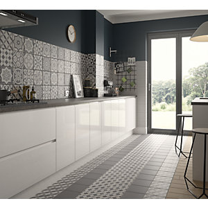 floor tile for kitchen cost of countertops tiles 15 off wickes co uk winchester geo grey ceramic 200 x 200mm