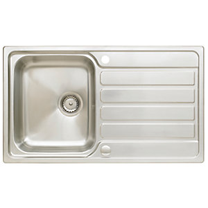 ss kitchen sinks cabinet inserts stainless steel single double bowl kitchens wickes co uk astracast elise 1 compact sink