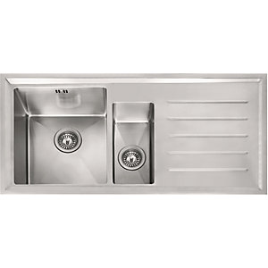kitchen sink white touch free faucet sinks kitchens wickes stainless steel