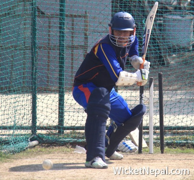 Dilip Nath batting in Nets