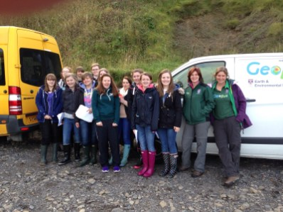 Our Higher Geography pupils enjoying the field trip with Mrs Clasper and GeoBus