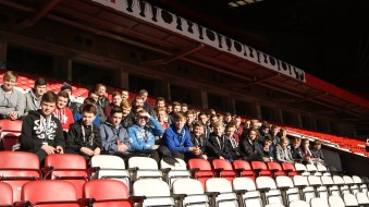 The lads in the Sir Alex Ferguson Stand