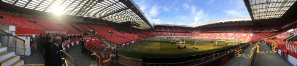 A panorama of Old Trafford as the lads hear all about the club's marvellous history.