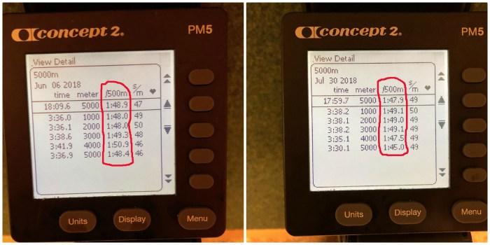 """Två test på 5000 m SkiErg när jag var i ungefär samma form, men där jag lade upp """"loppet"""" mycket bättre till höger och landade på en 10 s bättre tid."""