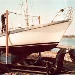 Moody yacht loaded onto trailer ready for launching
