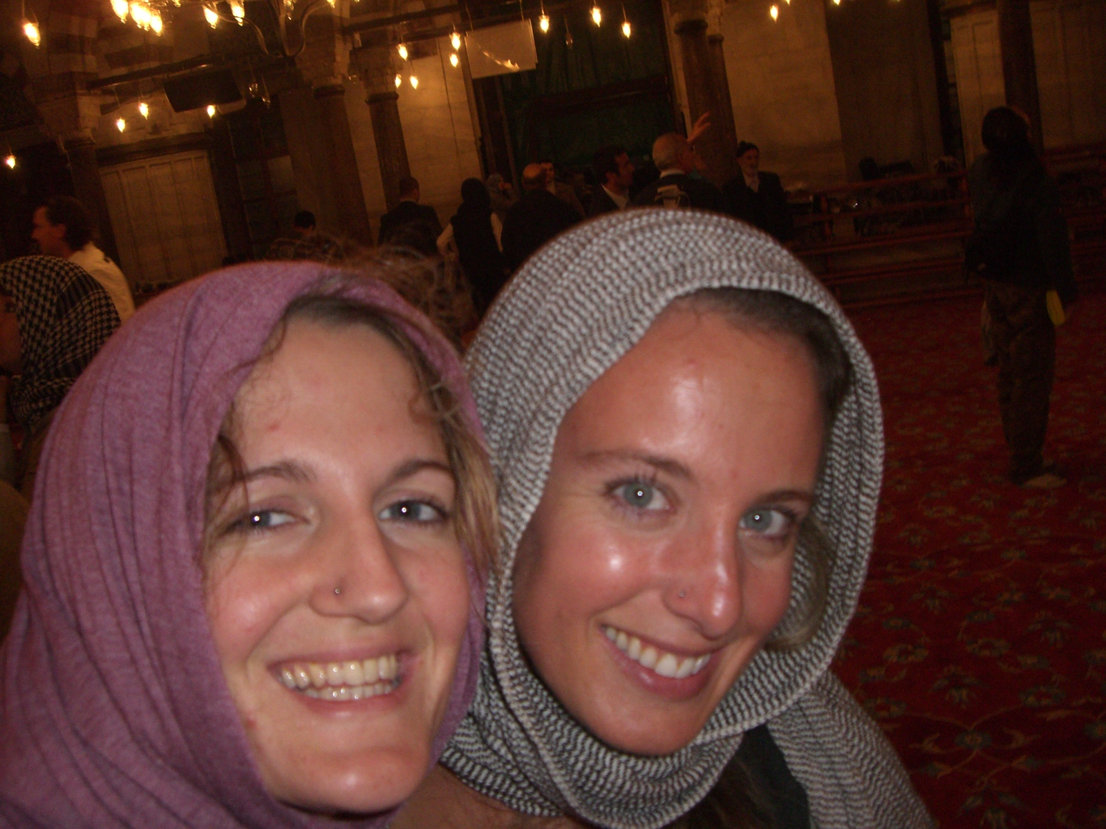 Inside a mosque, flashing the blue eyes that get us into so much trouble...
