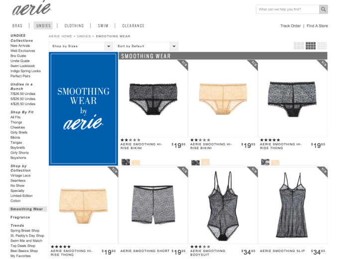 Aerie's Smoothing High Rise Bikini and Thong for a long rise. Screenshot from Aerie.com.