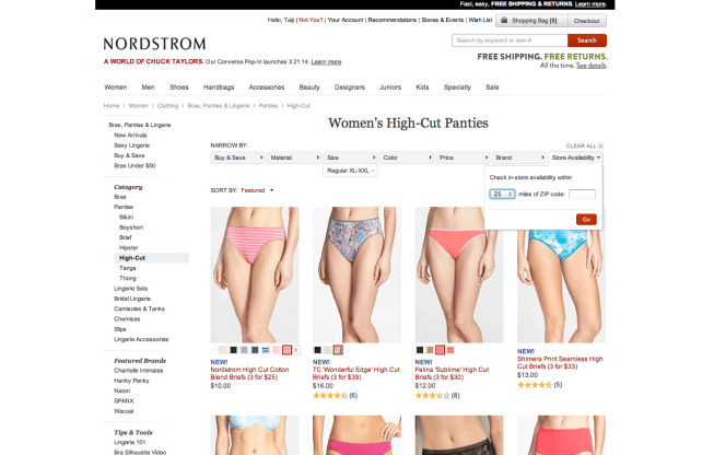 Examples of size, style and in-store availability filtering options for long rise panties at Nordstrom. Screenshot from Nordstrom.com.