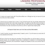 Prima Donna Bras U.S. Special Order Policy. Screenshot from prima-donna-bras.com.