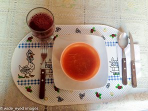 Tomato and noodle soup.
