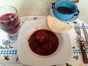 Mole rojo with tortillas, frijoles, and jamaica water.