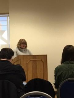 Sigma Tau Delta Vice-President Taylor Brown delivers her keynote remarks