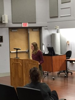Jennifer Rohrbach giving the introduction
