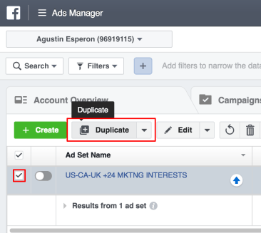 Click your ad checkbox and press duplicate.