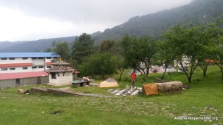 Last night camping - next to a giant chess board with pieces gone astray due to earthquake.