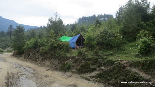 Most people were camping by their houses, but not this family