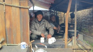 Dorjee's father and his father's friend were living in shelters next to their houses