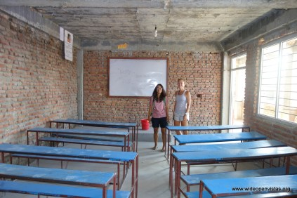 Sonam and Stephanie checking out one of the classrooms. Stephanie's gymnastic students helped raise money for WOV in Seattle. Thanks!