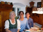 Beatrice's mom, Heidi, dresses in traditional Bavarian garb and feeds us a delicious homemade dinner complete with a tasty birthday treat.