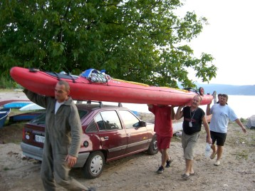 Coming into Tekjip, Serbia after one of the longest days on the river. A group of men welcomed us with hot coffee before volunteering to carry our kayak and supplies to our guesthouse.