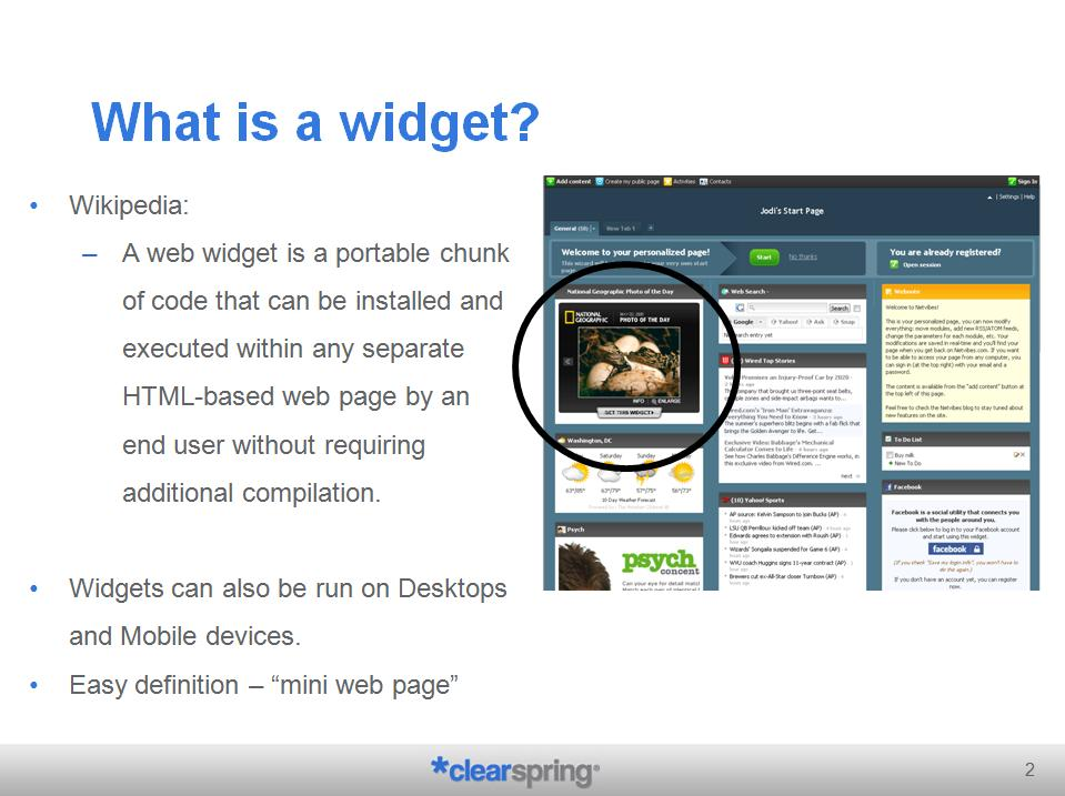 Widgets Social Applications and RSS Feeds  Widget Analytics  Measuring the widgets in the wild
