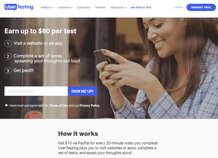 Make money online with usertesting