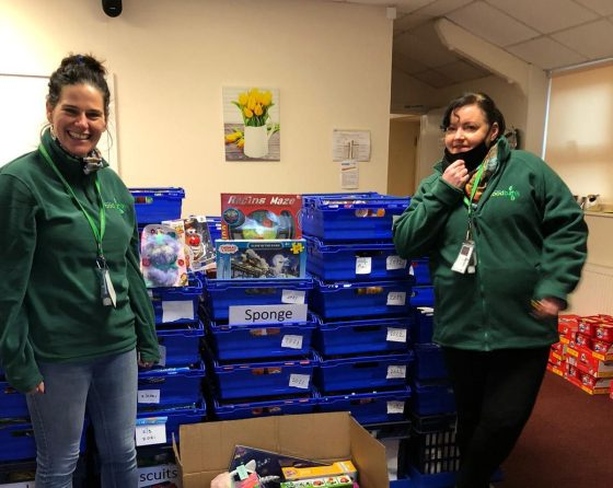 Volunteers from Widnes Foodbank collect food